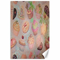 French Pastry Vintage Scripts Cookies Cupcakes Vintage Paris Fashion Canvas 24  X 36  (unframed)