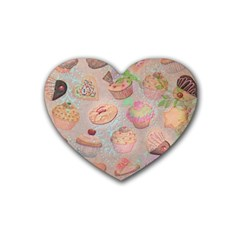 French Pastry Vintage Scripts Cookies Cupcakes Vintage Paris Fashion Drink Coasters 4 Pack (Heart)