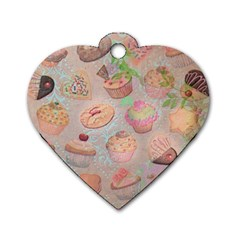 French Pastry Vintage Scripts Cookies Cupcakes Vintage Paris Fashion Dog Tag Heart (One Sided)