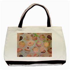 French Pastry Vintage Scripts Cookies Cupcakes Vintage Paris Fashion Twin-sided Black Tote Bag
