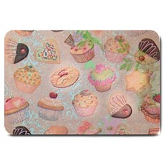 French Pastry Vintage Scripts Cookies Cupcakes Vintage Paris Fashion Large Door Mat