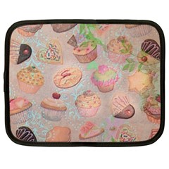 French Pastry Vintage Scripts Cookies Cupcakes Vintage Paris Fashion Netbook Case (Large)
