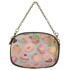 French Pastry Vintage Scripts Cookies Cupcakes Vintage Paris Fashion Chain Purse (Two Sided)