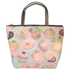 French Pastry Vintage Scripts Cookies Cupcakes Vintage Paris Fashion Bucket Bag