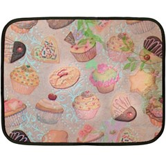 French Pastry Vintage Scripts Cookies Cupcakes Vintage Paris Fashion Mini Fleece Blanket (Two Sided)