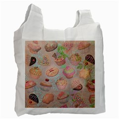French Pastry Vintage Scripts Cookies Cupcakes Vintage Paris Fashion Recycle Bag (two Sides)
