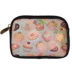 French Pastry Vintage Scripts Cookies Cupcakes Vintage Paris Fashion Digital Camera Leather Case