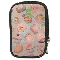 French Pastry Vintage Scripts Cookies Cupcakes Vintage Paris Fashion Compact Camera Leather Case