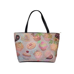 French Pastry Vintage Scripts Cookies Cupcakes Vintage Paris Fashion Large Shoulder Bag