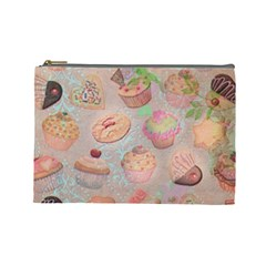 French Pastry Vintage Scripts Cookies Cupcakes Vintage Paris Fashion Cosmetic Bag (large)