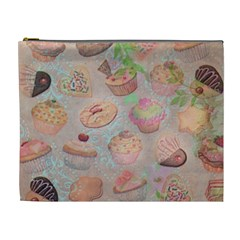 French Pastry Vintage Scripts Cookies Cupcakes Vintage Paris Fashion Cosmetic Bag (XL)