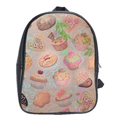 French Pastry Vintage Scripts Cookies Cupcakes Vintage Paris Fashion School Bag (Large)