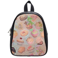 French Pastry Vintage Scripts Cookies Cupcakes Vintage Paris Fashion School Bag (Small)