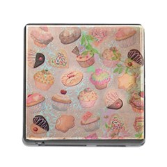 French Pastry Vintage Scripts Cookies Cupcakes Vintage Paris Fashion Memory Card Reader with Storage (Square)
