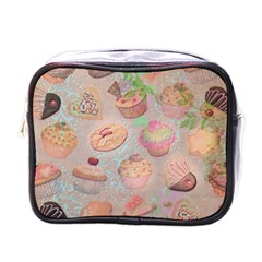 French Pastry Vintage Scripts Cookies Cupcakes Vintage Paris Fashion Mini Travel Toiletry Bag (One Side)