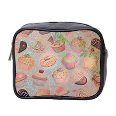 French Pastry Vintage Scripts Cookies Cupcakes Vintage Paris Fashion Mini Travel Toiletry Bag (Two Sides)