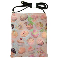 French Pastry Vintage Scripts Cookies Cupcakes Vintage Paris Fashion Shoulder Sling Bag