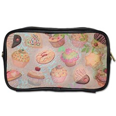 French Pastry Vintage Scripts Cookies Cupcakes Vintage Paris Fashion Travel Toiletry Bag (Two Sides)