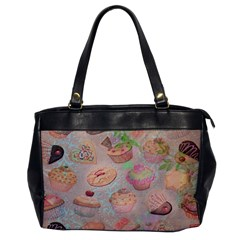 French Pastry Vintage Scripts Cookies Cupcakes Vintage Paris Fashion Oversize Office Handbag (One Side)