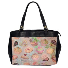 French Pastry Vintage Scripts Cookies Cupcakes Vintage Paris Fashion Oversize Office Handbag (Two Sides)