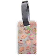 French Pastry Vintage Scripts Cookies Cupcakes Vintage Paris Fashion Luggage Tag (Two Sides)