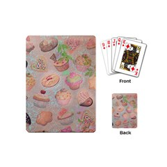 French Pastry Vintage Scripts Cookies Cupcakes Vintage Paris Fashion Playing Cards (mini)