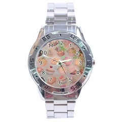 French Pastry Vintage Scripts Cookies Cupcakes Vintage Paris Fashion Stainless Steel Watch (Men s)