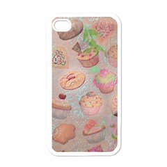 French Pastry Vintage Scripts Cookies Cupcakes Vintage Paris Fashion Apple Iphone 4 Case (white)