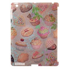 French Pastry Vintage Scripts Cookies Cupcakes Vintage Paris Fashion Apple iPad 3/4 Hardshell Case (Compatible with Smart Cover)