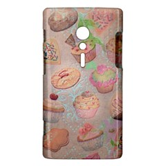 French Pastry Vintage Scripts Cookies Cupcakes Vintage Paris Fashion Sony Xperia ion Hardshell Case