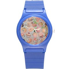 French Pastry Vintage Scripts Cookies Cupcakes Vintage Paris Fashion Plastic Sport Watch (small)
