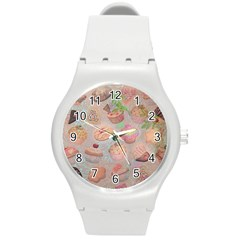 French Pastry Vintage Scripts Cookies Cupcakes Vintage Paris Fashion Plastic Sport Watch (medium)