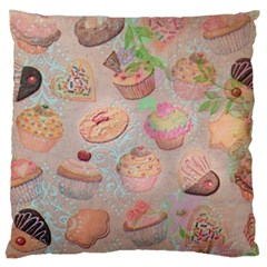 French Pastry Vintage Scripts Cookies Cupcakes Vintage Paris Fashion Large Cushion Case (Single Sided)