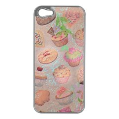 French Pastry Vintage Scripts Cookies Cupcakes Vintage Paris Fashion Apple Iphone 5 Case (silver)