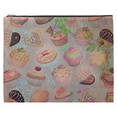 French Pastry Vintage Scripts Cookies Cupcakes Vintage Paris Fashion Cosmetic Bag (XXXL)