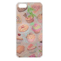 French Pastry Vintage Scripts Cookies Cupcakes Vintage Paris Fashion Apple Iphone 5 Seamless Case (white)