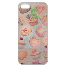 French Pastry Vintage Scripts Cookies Cupcakes Vintage Paris Fashion Apple Seamless Iphone 5 Case (clear)