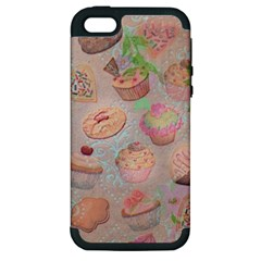 French Pastry Vintage Scripts Cookies Cupcakes Vintage Paris Fashion Apple Iphone 5 Hardshell Case (pc+silicone)
