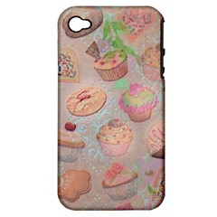 French Pastry Vintage Scripts Cookies Cupcakes Vintage Paris Fashion Apple Iphone 4/4s Hardshell Case (pc+silicone)