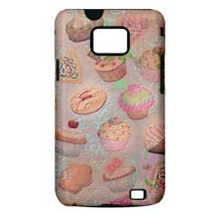 French Pastry Vintage Scripts Cookies Cupcakes Vintage Paris Fashion Samsung Galaxy S II Hardshell Case (PC+Silicone)