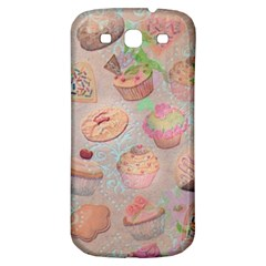 French Pastry Vintage Scripts Cookies Cupcakes Vintage Paris Fashion Samsung Galaxy S3 S III Classic Hardshell Back Case