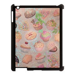 French Pastry Vintage Scripts Cookies Cupcakes Vintage Paris Fashion Apple Ipad 3/4 Case (black)
