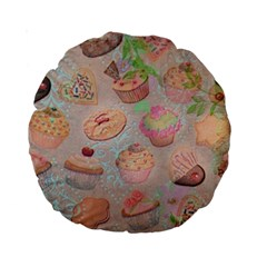 French Pastry Vintage Scripts Cookies Cupcakes Vintage Paris Fashion 15  Premium Round Cushion
