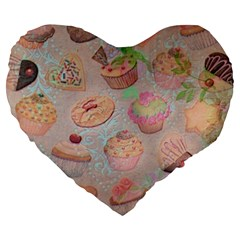 French Pastry Vintage Scripts Cookies Cupcakes Vintage Paris Fashion 19  Premium Heart Shape Cushion