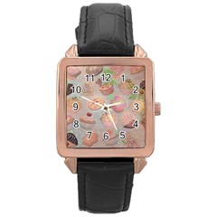 French Pastry Vintage Scripts Cookies Cupcakes Vintage Paris Fashion Rose Gold Leather Watch