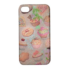 French Pastry Vintage Scripts Cookies Cupcakes Vintage Paris Fashion Apple iPhone 4/4S Hardshell Case with Stand