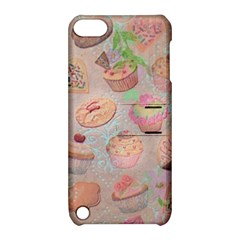 French Pastry Vintage Scripts Cookies Cupcakes Vintage Paris Fashion Apple Ipod Touch 5 Hardshell Case With Stand