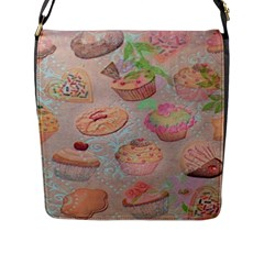 French Pastry Vintage Scripts Cookies Cupcakes Vintage Paris Fashion Flap Closure Messenger Bag (large)