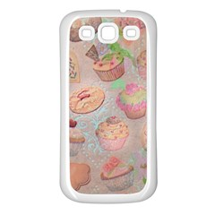 French Pastry Vintage Scripts Cookies Cupcakes Vintage Paris Fashion Samsung Galaxy S3 Back Case (White)
