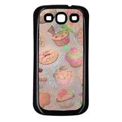 French Pastry Vintage Scripts Cookies Cupcakes Vintage Paris Fashion Samsung Galaxy S3 Back Case (Black)
